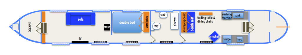 "Diagram showing layout of our long term narrowboat ""The Squire"""